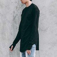 Männer Duim Gat T-Shirt EFFEN Farbe Streetwear Männer Lange Mouw T-Shirt Zufällige Runde Hals Männliche Tops Lustige Kurve Zoom T-Shirt Doek