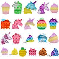 Zasoby amerykańskie, Mini Fidget Toy Finger Picture Bańka Brelok Cute Unicorn Ananas Animal Anti Stress Relief Zabawki Klucz Pierścionek Wisiorek