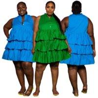 Robe de taille à volants en cascade bleus / verte pour les femmes boutons de gâteaux sans manches robes douces filles simples a-ligne robe courte