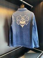 Primavera y otoño moda Denim Chaqueta de mezclilla de alta calidad solapa bordada cómoda tela suave de lujo para hombre chaquetas de camisa casual