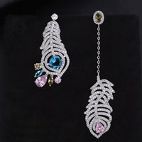 Dangle & Chandelier KellyBola High Quality Tone Plant Leaves Asymetry Waterdrop Pierced Drop Long Earrings For Women Wedding Bridal Jewelry