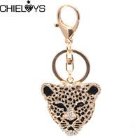Chieloys Leopard Beychain Ключевые Цепные Цепочки Металлические Кристалл Ключ Цепочка Ключ Очарование Сумка Подвеска Подарок Оптовая цена KC026