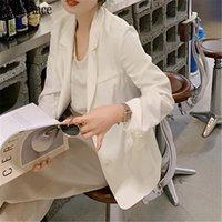 Women's Suits & Blazers Summer Women Fashion Office Wear Basic Thin Satin Coat Long Sleeve Female Outerwear Chic Tops