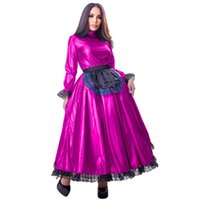 Casual Dresses 19 Colors Black Lace Trim French Maid Long Dress Cosplay Party Tutu Dress+Apron Shiny Retro Uniform Club Lolita A-line