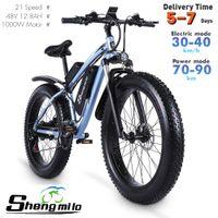 AB ShengMilo MX02S 26 inç Elektrikli 1000 W Dağ Bisikleti 40 KM / H Şehir Yağ Lastik Bisiklet 17Ah Lityum-Pil Yetişkin Ebike Pedal Yrd
