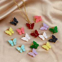 13x13mm ACRYLIC Legierung Schmetterling Charms Fit Fit für Ohrring Anhänger Halskette Mode DIY Schmuck Machen Geschenke Zubehör 329 Q2