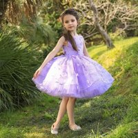Girl's Dresses Cute Short Flower Girl For Wedding Lace Appliques Jewel Neck Little Girls Pageant Gowns Birthday Party Kids Prom Dress