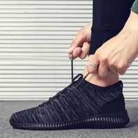 2021 breathable shoe flying woven shock absorption leisure walking socks shoes cross-border large size men's sneaker 39-46#
