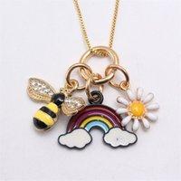 Liga pingentes colar banhado a ouro coroa gota de óleo sereia adorável amor coração em forma de rainbow cadeia crianças colares de jóias 5nj k2