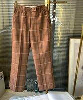 여성 바지 카프리스 잘 생긴 / 세련된 캐러멜 격자 무늬 양모 혼합 약간 캐주얼 양복 여성
