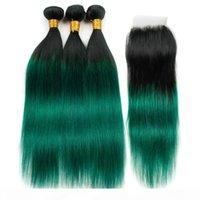 # 1b الأخضر أومبير مستقيم الشعر البشري 3 حزم مع إغلاق أومبير الأخضر الداكن البرازيلي الإنسان الشعر نسج لحمة مع الدانتيل أعلى إغلاق 4x4