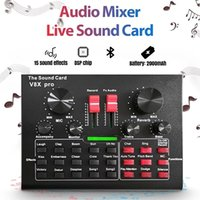 V8X PRO Live Sound Card Audio Mixer Bluetooth 15 Multiple Modes Sound Effects for Computer Phones Singing and Recording