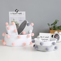 Storage Baskets Nordic Decorative Sundries Box Cotton Rope Woven Desktop Cosmetic Containers Gifts Room Organizer