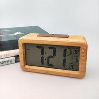 Reloj despertador digital de madera, luz de noche sensor con snooze Fecha Temperatura Reloj LED reloj de pared Relojes de pared 1989 V2