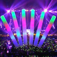 파티 장식 20pcs LED 다채로운 거품 스폰지 글로우 스틱 글로우 스틱 콘서트 생일 클럽 치어 리더 공급 라이트 스틱