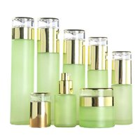 Frosted Green Glass Bottle Cream Jar Empty Refillable Lotion Spray Pump Bottles Cosmetics Container 20ml 30ml 40ml 60ml 80ml 100ml 120ml