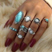 Fashion Jewelry Ethnic Style Ring Retro Turquoise Carved Geometric Rings Set 8pcs set