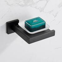 Matte Black Seifenschale Rostfest 304 Edelstahl-Quadratseifen Halter Spender mit abnehmbarer Platte Silber Badezimmerzubehör