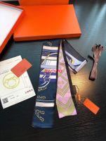 부드러운 100 % 실크 헤어 가방 리본 스카프 클래식 패션 고귀한 여성 소녀 나비 넥타이 머리띠 스카프 없음 상자