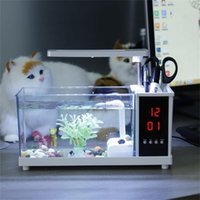 Mini Aquarium Pesce USB Acquario con LED Light LCD Display Schermo schermo e orologio Acquario Acquario Serbatoi di pesce nero / bianco Decor Y200922