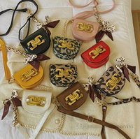Designer children polka dots silk scarves handbags girls leopard grain messenger chest bags women single shoulder lipstick bag kids PU leather Saddle purse Q2411