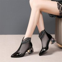 Sandals 2021Summer Rhinestone Mesh Pointed Toe Ankle Boots Stiletto High Heels Female Crystal Shoes