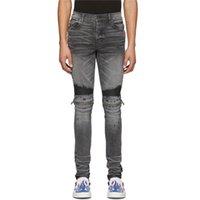 Amir Poison Grey Peddler Skinny Knee Zipper Knife Cut Old Hole Slim Versatile Slp Jeans Man