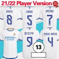 Spieler-Meisterversion Camiseta 2022 Real Madrid Fussball Jersey Home White Benzema Alaba Hazard Kroos Erwachsener Fußball-Hemd 21/22 Fußballuniform Customzied