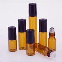 20 pçs / lote 3ml 5ml 10ml âmbar vidro rolo de vidro fino na amostra de garrafa teste de óleo essencial frascos de perfume com bola de metal preta