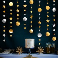 Party Decoration 4M Gold Silver Paper Garlands Backdrop Curtain Birthday Adult Kids Wedding Po Props