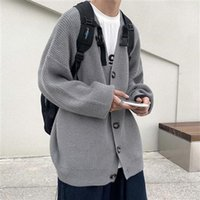 Men's Sweaters 2021 Knitwear Jackets For Men All-match Cardigan Solid Color Fall And Winter Lazy Boy Single-breasted Top
