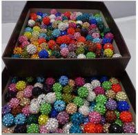 Bijoux perles en vrac! 10mm Mixte Micro Pave CZ Disco Ball Crystal Shamballa Perle Bracelet Collier Beads.Sec En gros! Stock! Mixte goutte deli