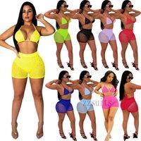 Women mesh Sequins Bikinis 2 Two Piece outfits set Summer Swimwear Sexy halter bandage bra slim shorts Swimsuit Beach nightclub party plus size clothing