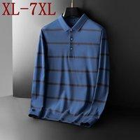 Men's Polos 7XL 6XL 5XL Comfortable 100% Cotton Shirt Men Oversized Loose Shirts Top Quality Fashion Striped Homme