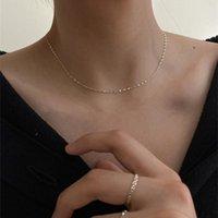 بسيطة الكورية المعادن الذهب والفضة اللون سلسلة هندسية قلادة أثار الزركون OL نمط O-chokers للنساء المختنقون