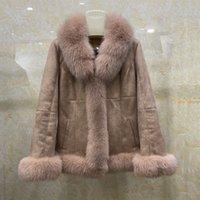 Kadınlar Gerçek Tavşan Kürk Koyun Derisi Deri Ceket Pembe Kürkler Parkas Kış Ceketler Kadın Giyim Kalınlaşma Sıcak Kabanlar Palto Streetwear M-XXXXL Tops