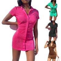 Casual Dresses Kayotuas Women Dress Lapel Neck Knit Mini Bodycon Short Sleeve 2021 Summer Classic Green Button Bag Hip Beach Sexy Clubwear