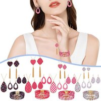 Earrings & Necklace Sweet Vintage Jewelry Set Love Print Dangle Tassel Pendant Charm Bracelets Kit For Valentine's Day