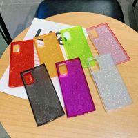 Note20ultra cor sólida fluorescente caso de telefone móvel s20plus flash pó quadrado reto borda s20fe