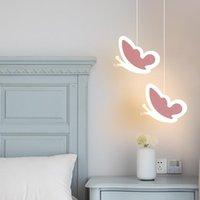 Sarkıt lambaları sıcak çocuk odası başucu küçük avize creativeNet kırmızı yatak odası karikatür kelebek kalp şeklinde dekoratif