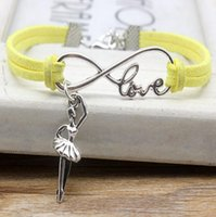 Luxurious Infinity Love Dance Pendant Bracelet Yellow Leather Suede Rope Adjustable Charm Jewelry Men Women