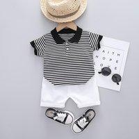 Summer Toddler Boys Clothing Children Kids Set Girls Stripe Short Sleeve T-Shirts+Shorts 2Pcs Sets Cotton Outfits Suits