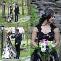 Cap Sleeves High Low Lace Tulle Plus Size Gothic Wedding Bridal Gowns Country Style Vintage Black and White Wedding Dress