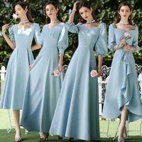 Satin bridesmaid dress, zipper and short sleeve, wedding dress, guest party, graduation ceremony, blue, 2020 J0529