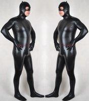 Черный блестящий лайкра металлический костюм костюм костюм костюм унисекс наряд сексуальные женщины мужские костюмы костюмы боди хэллоуин вечеринка необработанные платье косплей костюм P534