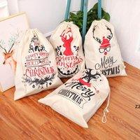 Grande impresso linho mochila festa favor o natal feixe saco de presente de natal sacos de doces hwf9092