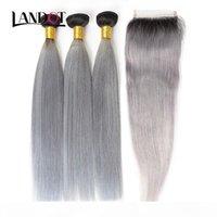 9a ombre 1b fechos de renda cinza com 3 pacotes brasileiro cabelo humano virgem tecidos em linha reta ombre extensões de cabelo indiano malaio peruano