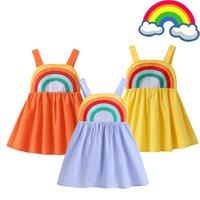 Girl's Dresses 2-8 Years Children Clothing Girl Rainbow Suspender Dress Toddler Birthday Party Carnival Costume Summer For Baby Girls
