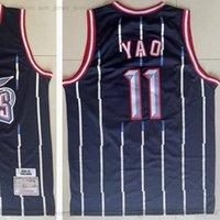 Mitchell and Ness Retro 02-03 Baloncesto Yao 11 Ming Jerseys cosido Vintage Blanco Blanco Stripe Man 2002-03 Jersey Tamaño S-XXXL