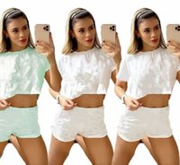 Jogger Suit Two piece Sets Women Tracksuits Crop Tops+Shorts Short Sleeve Sportswear Summer Clothes Plus Size Sweatsuit Printed Outfits leisure wear 4669